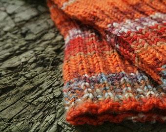 Orange stricken Socken für Damen, Damen winter Accessoires, gestrickte Socken
