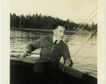 "Vintage Photo ""The Lake Navigator"" Snapshot Antique Black & White Photograph Found Paper Ephemera Vernacular Interior Design Mood - 126"