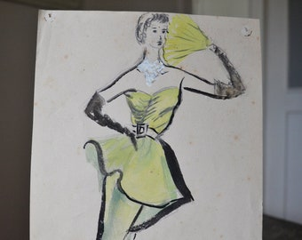 Fashion watercolor, 1950, lady in yellow evening gown, vintage