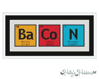 BACON (BaCoN) Periodic Table Chemical Element Cross Stitch Chart