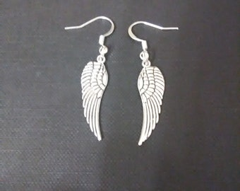Gorgeous silver & black feather earrings