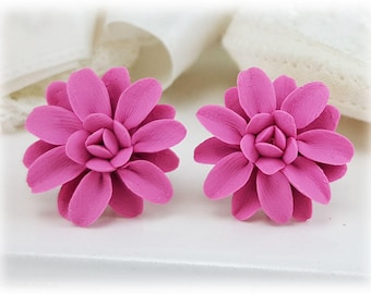 Pink Dahlia Earrings Stud or Clip On - Dahlia Jewelry