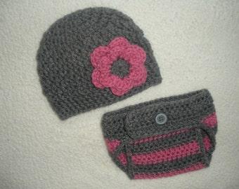 Crochet hat diaper cover set, baby girl gift, pink baby gift, newborn photo prop, 0-3 month baby gift, newborn diaper cover, baby girl gift