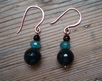 Blue agate apatite and smoky quartz earrings