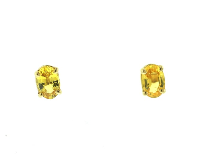 Yellow Sapphire Stud Earrings  14K White Gold Earrings Gemstone Earrings