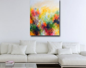 Abstract Canvas Print, Large Giclee Print from Painting, Wall Art, Large Painting, Modern Canvas Art, red, green, yellow, white abstract