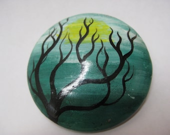 Tree Green Blue Yellow Brooch Vintage Pin