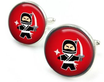 Ninja Cufflinks, Samurai Cufflinks,  groomsmen gift, gift for men, gift for him,ninja 2