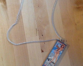 air force girl vintage picture micro scope  2-sided necklace