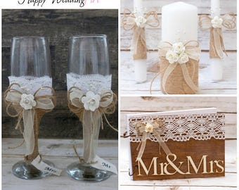 Rustic Wedding Set Unity Candle Champagne Glasses Cake Serving Cutter Burlap Rustic Decoration Flutes Unity Candles Knife Cutters