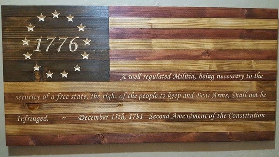 United States 1776 American Flag Sign 2nd Amendment Carved In