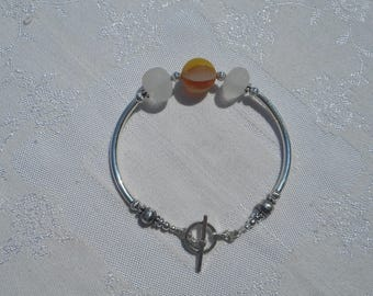 Orange and Yellow Marble with Clear Sea Glass Bracelet