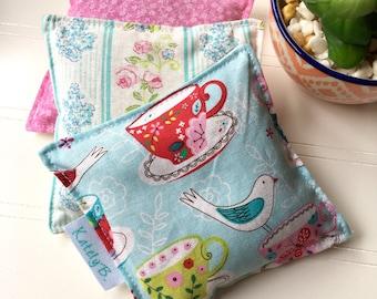 Lavender Sachet, Scented Drawer Sachet - Tea Cups & Birds (Set of 3)