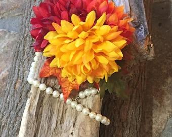 Fall chrysanthemum vintage pin up retro 50s hairflower hairpiece wedding bride bridal
