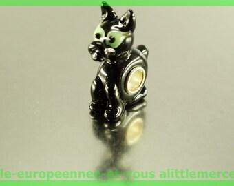 Pearl glass dog European FAN81 for bracelet necklace charms