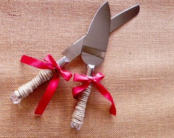 Jute Wrapped Cake Cutting Set - Rustic Wedding - Ribbon, crystal handles