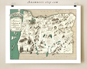 OREGON MAP PRINT - vintage picture map - may be personalized - illustrated map - pictorial map print - gift idea - coastal cottage wall art