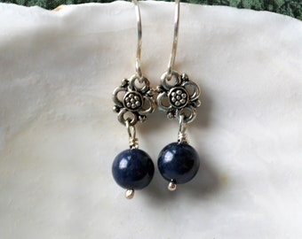 Dark Blue Gemstones, Sterling Silver Dangle Earrings