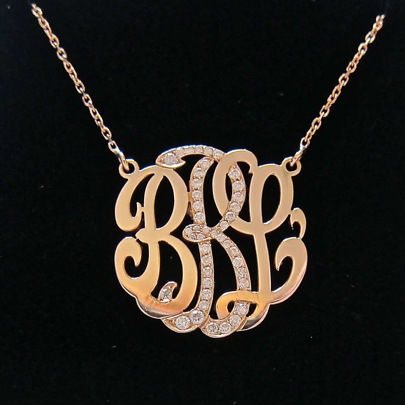 Mini 14k gold monogram necklace with diamond middle initial mozeypictures Choice Image