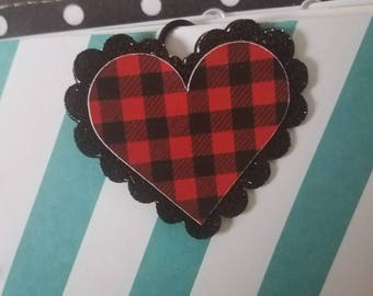 COVERT CLIP Original design by Picks and Stones/ Buffalo Plaid red and black Valentine's Heart/ glitter paperclip