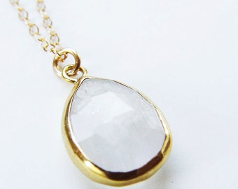 White Moonstone Gold Necklace