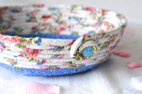 Blue Gift Basket, Lovely Floral Quilted Bowl, Handmade Lotion Holder, Hand Coiled Rope Basket, Modern Floral Basket, Remote Control Bin