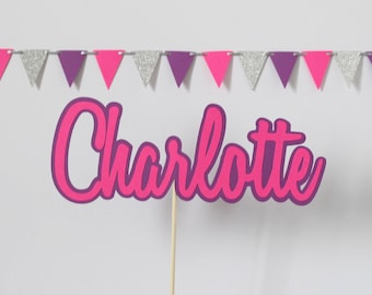 Personalised name pink cake topper, cake topper, Girls cake topper, birthday cake topper