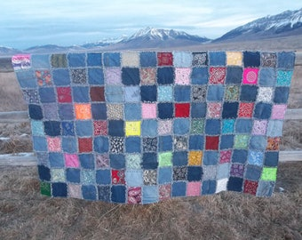 Bandanna and denim twin size rag quilt