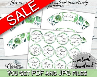 Cupcake Toppers And Wrappers Bridal Shower Cupcake Toppers And Wrappers Botanic Watercolor Bridal Shower Cupcake Toppers And Wrappers 1LIZN