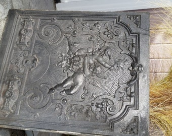 Nice Ornate Victorian Cast Iron Fireplace Summer Cover With Cherubs   Late 1800u0027s