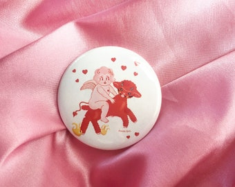 """Lolly Dolly the Devil Lamb  -  2.25"""" Button Pin Badge"""
