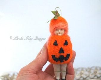 Pumpkin Doll Ornament Needle Felted Doll German Doll Parts Dollhouse Doll Lorelie Kay Original