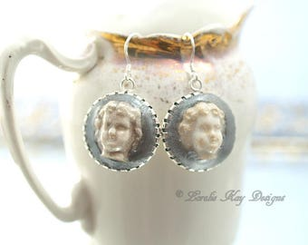 Simple Small Frozen Charlotte Doll Head Earring Sterling Silver Hooks Earrings Dangle Earrings