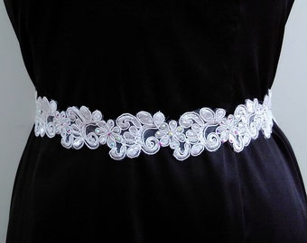White rhinestone floral sash, Wedding lace belt, Bridal gown sash, Jeweled sash, Beaded sash, Bling sash, Dress sash, Satin sash,Ribbon belt