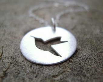 Hummingbird necklace, Ready-To-Ship! Tiny silver hummingbird necklace, hand-cut sterling silver bird necklace.