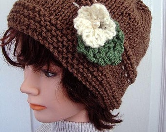 KNIT HAT - Knit flower and leaf - pdf instant download pattern, baby hat, children, teens, women, #680, Easy beginner level