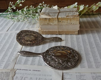 vintage VANiTY SET Brush Hand Mirror Antique Art Deco Hollywood Regency 2 piece silver plated vanity set