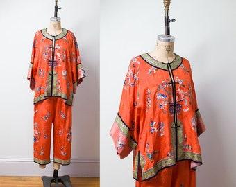 1930s Chinese Embroidered Pajamas / 30s Orange Silk Lounge Pajamas