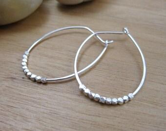 Silver Hoop Earrings Sterling Silver Oblong Hoops Embellished Hoops Minimalist Earrings Minimalist Jewelry Everyday Earrings - Dwell