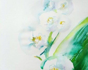 Lily of the valley original watercolor painting A4 white flowers aquarela spring minimalistic gift for her charming garden wall art floral