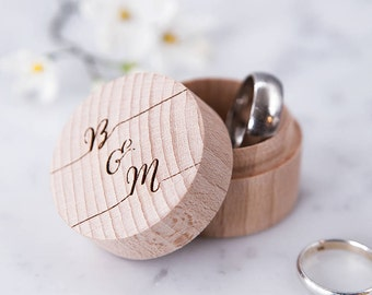 Personalised Calligraphy Ring Box - Wooden Ring Box - Wedding Ring Holder - Ring Pillow - Ring Bearer Box - Proposal Ring Box - Wedding Gift