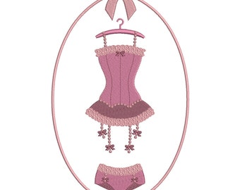 Instant download Lingerie corset and panties embroidery design download