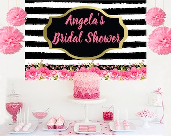 Bridal Shower Personalized Banner, Bride to Be Cake Table Backdrop - Wedding Backdrop, Printed Wedding Backdrop, Black & White Backdrop