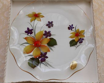Chance Glass Plate, Plate With Flowers, Violet Flowers, Floral Design, Decorative Plate, Vintage Glass, English Tea Time, Boxed Cake Plate