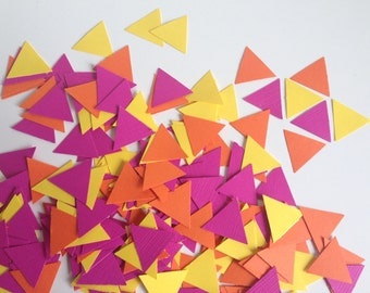 Wedding Party table confetti, geometric brights triangles