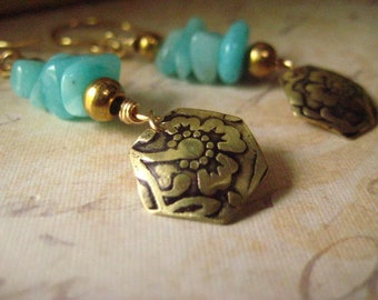 Amazonite Earrings, Stamped Brass, Oxidized Metal, Turquoise Amazonite, Genuine Amazonite, Hand Stamped, candies64