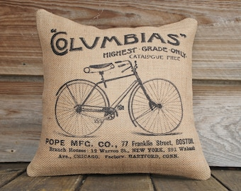 Bicycle Pillow Cover, Burlap Throw Pillow, Cushion, French Pillow, Decor
