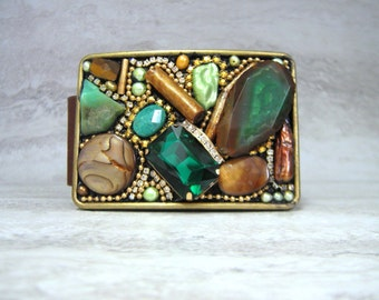Belt Buckle in  Emerald Green & Gold- Women's Unique OOAK Handcrafted Agate Buckles by Sharona Nissan (gift for Fashionista)