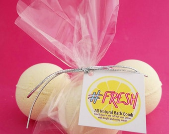 Bath Bomb-#Fresh Bath Bomb-All Natural Bath Bomb Infused With Lemon Essential Oils-Wrapped Bath Bomb with Hang Tag-Gifts For Her