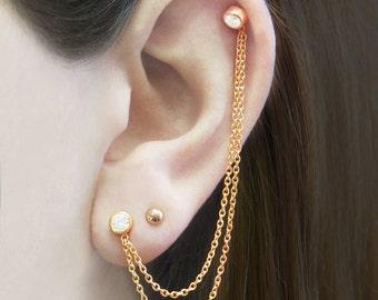 Rose Gold Earrings, Chain Earrings, Double Stud Earrings, Ear Cuff, Cartilage Earring, White Topaz Earrings, Boho Earrings, Edgy Earrings